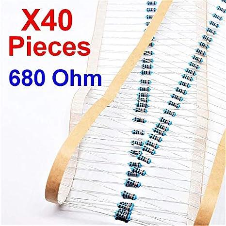 Through Hole Resistor x40 Pcs 1K Ohm vs-elec /± 1/% 1K 1//4 W 0.25 MF25
