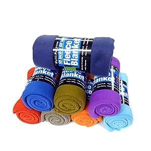 Fleece Throw Blanket - 50in, College Dorm Room Accessories, (Colors May Vary)