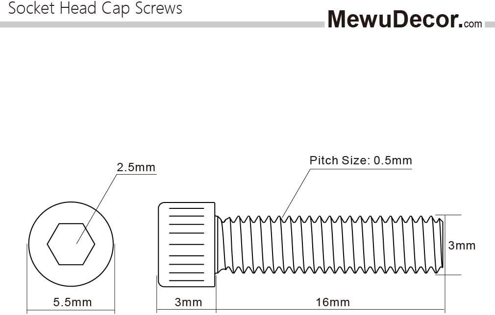 Quantity 100 Allen Socket Drive M3 x 6mm Socket Head Cap Screws Grade 12.9 Alloy Steel Black Oxide Machine Thread