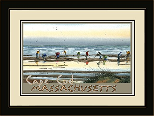 Northwest Art Mall BA-3652 LFGDM CD Cape Cod Massachusetts Clam Digging Framed Wall Art by Artist Dave Bartholet, 20 x - Cape Mall Cod Massachusetts