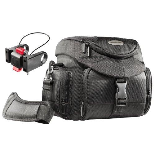 Mantona Premium Biker SLR-Kameratasche (inkl. Klickfix Lenkeradapter, Schnellzugriff, Schultergurt, Regenüberzug und  Zubehörfächern) schwarz