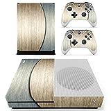 Pandaren Xbox One S / Slim Console Full Skin Sticker Faceplates(Double Color Wood Console Skin X 1 + Controller Skin X 2)