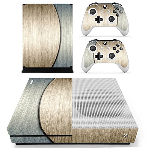 Pandaren Xbox One S / Slim Console Full Skin Sticker Faceplates(Double Color Wood Console Skin X 1 + Controller Skin X 2)
