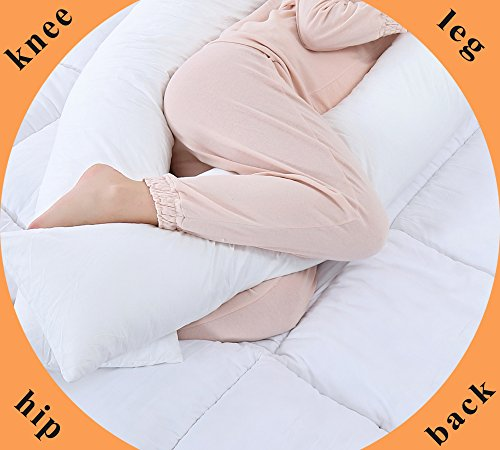 QUEEN improved Pregnancy Body Pillow Maternity Pillow for Back Pain by signifies of  1 totally removable Pillow Cover