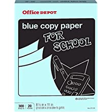 Office Depot Colored Copy Paper, Blue, 8 1/2 Inch x 11 Letter Size, 20 lb. Density, 300 Sheets Pack (372-319)