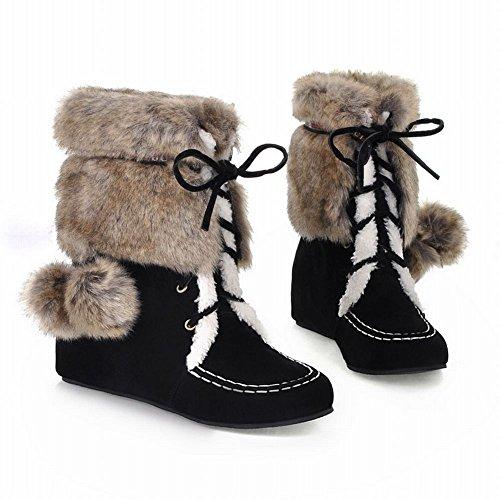 High Top New Black Fur Snow Foot Faux Charm Womens Boots ZwYq51Xxgn