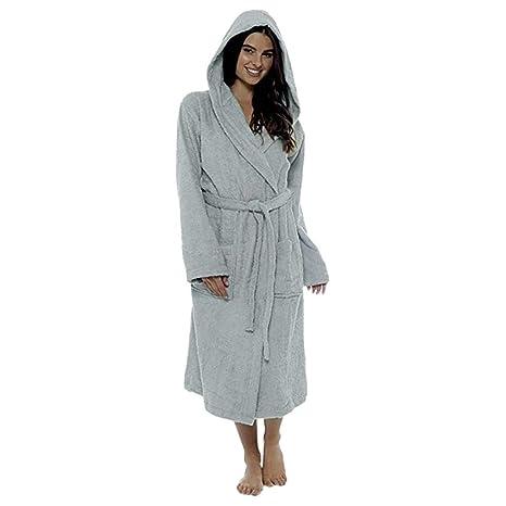 dfb644d2cfcf4 KEERADS Peignoir Femme Velours Robe de Chambre Polaire Chaud Long Flanelle  Peignoir de Bain Homme Eponge Hiver Longue Peignoir de Bain Éponge 100%  Coton ...