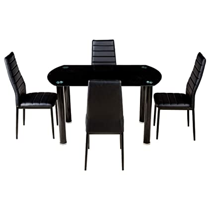 Woodness Thames 6170+6161 4 Seater Dinning Table Set (Glossy, Black)