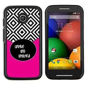 LECELL--Funda protectora / Cubierta / Piel For Motorola Moto E -- Azulejos Negro Blanco Hermoso texto --