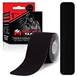 Motus Tape Elastic Cotton Kinesiology Tape, Waterproof, Therapeutic Support, 20 units, 2 x 10 Inch Pre-Cut Strips, Black