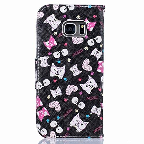 Yiizy Samsung Galaxy S7 Edge G935 Custodia Cover, Occhiali Gatto Design Sottile Flip Portafoglio PU Pelle Cuoio Copertura Shell Case Slot Schede Cavalletto Stile Libro Bumper Protettivo Borsa