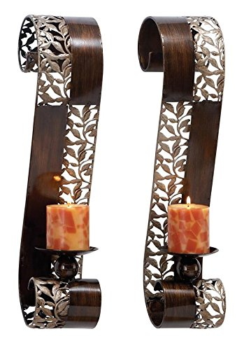Deco 79 Metal Candle Sconce, 21 by 4-Inch, (Set of 2) (Leaf Candle Wall Sconce)