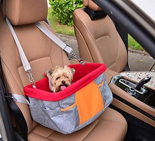 Pet Dog Booster Seat for Cars Lovespot Dog Car Seat with Dog Seat Belt Tether Storage Pocket Gray and Red