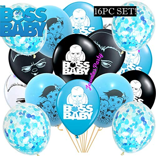 16pc New Confetti Boss Baby Party Supplies Decorations Balloon Balloons Favors Goody Bags Centerpiece