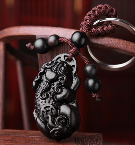 Feng Shui Peach Wood Carved Pi Yao Key MainImage