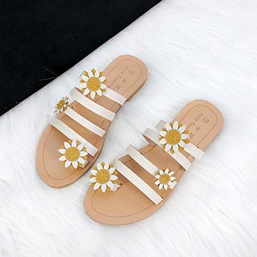 Schuhe Sommer Blumen Zehentrenner Schuhe Damen Strandschuhe Flache Riemchensandalen Böhmen MOIKA Sandalen Pantoletten Elegant Mode Weiß fpqXw