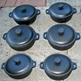 2 Cup Mini Dutch Oven,cast Iron,old Mountain, Pre-seasoned W/dome Lid Set of 6