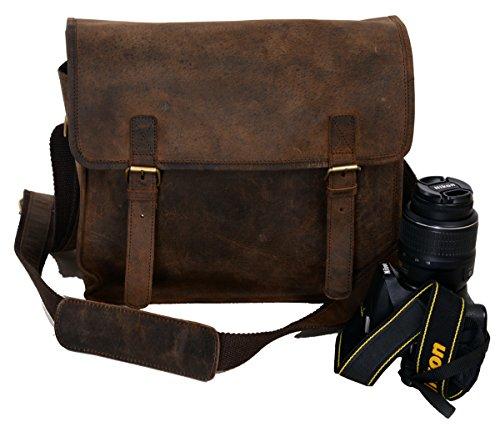 KOMALC Vintage Leather Camera Bag ~ SLR DSLR Messenger Bag ~