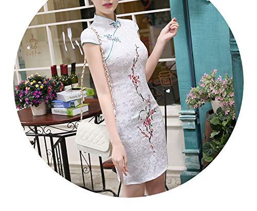 エキゾチック正確カルシウムチャイナドレス唐スーツ夏の花のスリムファッション長いドレス,刺繍梅,XL