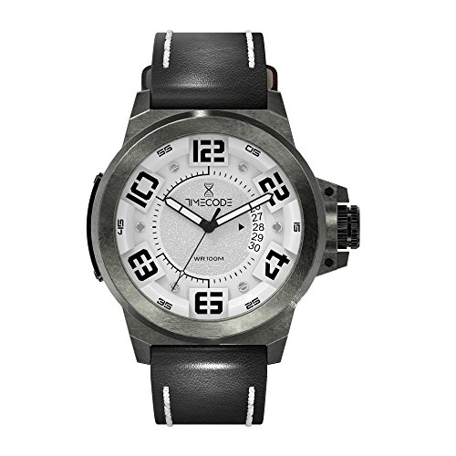 Timecode X-Rays 1895 TC-1005-02 Brushed Vintage Stainless steel 48mm Men's Watch WHITE dial with BLACK accents on a Black/White stitches genuine leather strap with large date window at 3 oclock