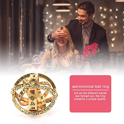 - CHERRYSONG 14K Rose Gold Astronomical Ball Ring Retro Flip Ball Type Becomes Astronomical Ball Ring Cosmic Creative Student Fingers Day Gift