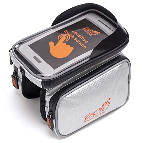 VeloMagique Waterproof Handlebar Bike Bag with Phone Holder up to 6.5 inch Cycling Top Tube Frame Bag Silver - Two Large Side Storage Pockets - TPU Touch Screen Phone Case, Reflective Border