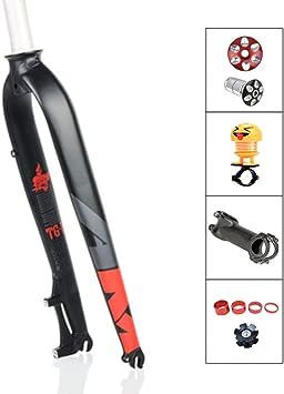 QQKJ Horquillas de Bicicleta de montaña Horquilla de suspensión rígida, Horquilla de aleación de Aluminio Piezas de Bicicleta 1-1/8 para 26