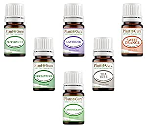 Essential Oil Variety Set Kit - 6 Pack - 100% Pure Therapeutic Grade 5 ml. Set includes- (Peppermint, Lavender, Sweet Orange, Lemongrass, Eucalyptus & Tea Tree)