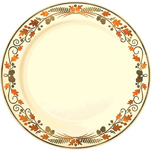 Colors of Fall Thanksgiving Party Premium Round Plate Tableware, 10 Pieces, Plastic, Multicolor, 10
