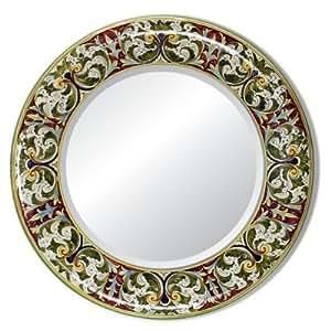 Majolica toscana espejo de pared redonda de cer mica de - Espejos de ceramica ...