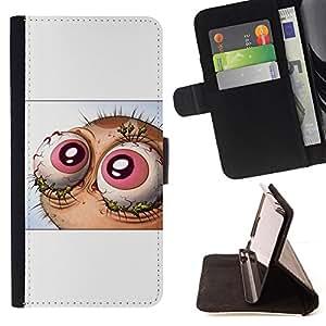 BullDog Case - FOR/Sony Xperia Z1 L39 / - / Abstract Lol Wtf Eyes - Ren & St1Mpy /- Monedero de cuero de la PU Llevar cubierta de la caja con el ID Credit Card Slots Flip funda de cuer