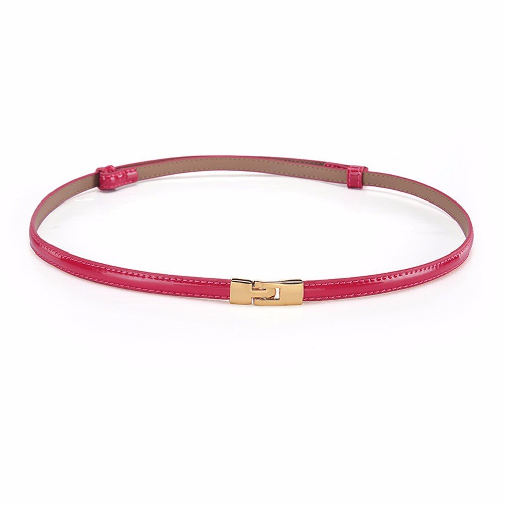 SAIBANGZI Ms Women All Seasons Fashion Belt Fine Leather Decorative Dress Accessories Girlfriend Present Red 95Cm