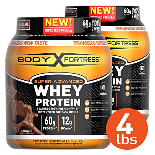 Body Fortress Super Advanced Whey Protein Powder, Gluten Free, Chocolate, 2 lb (Pack of 2)
