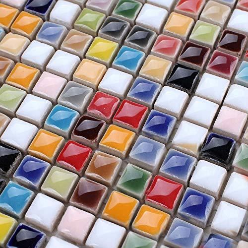 - Hominter 6-Sheets Multi Colored Ceramic Mosaic Floor Tile, Small Square Glazed Porcelain Tile, Bathroom Tiles Shower Wall Backsplash TA401