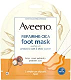 #9: Aveeno Repairing CICA Foot Mask with Prebiotic Oat and Shea Butter, Moisturizing Foot Mask for Extra Dry Skin, 2 Single-Use Slippers 1 ea