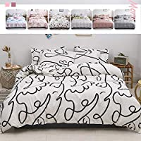 JJSFJH 3 In 1/4 In 1 Bedding Set Black And White Duvet Cover Twin Queen King Size Bed Sheet Pillowcase (Color : N, Size…