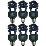 Sunlite SL20/BLB/6PK 20W Spiral Energy Saving CFL Light Bulb Medium Base (6 Pack), Blacklight Blue