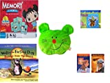 """Childrens Gift Bundle - Ages 3-5 [5 Piece] - Ni Hao Kai-LAN Edition Memory Game - Scooby Doo & Shaggy 100 Piece Puzzle Toy - Plush Appeal Bright Green Kitty Cat Face Plush 5"""" - Walter The Farting"""
