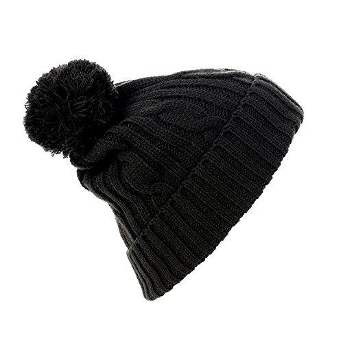 05c01574f02 SOLS Barney Unisex Winter Pom Pom Beanie Hat (One size) (Black) at ...