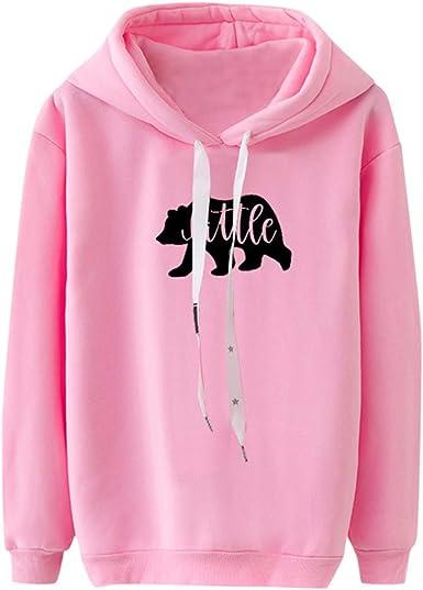 Women Hoodies Pullover Letter Printed Casual Loose Korean Style Drawstring Hooded Sweatshirts for Teen Girls