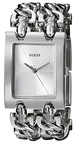 GUESS Women's Stainless Steel Multi-Chain Bracelet Watch, Color Silver-Tone (Model: (Silver Chain Bracelet Watch)