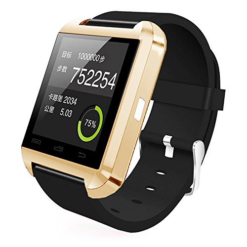 ([Prime] U8 Bluetooth V4.0 Bluetooth Wrist Smart Watch WristWatch UWatch for IOS Android iPhone 4/4S/5/5C/5S Samsung S2/S3/S4/Note 2/Note 3 HTC Sony Blackberry (Gold))