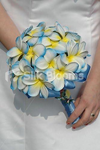 Amazon Com Silk Blooms Ltd Artificial Aqua White Frangipani