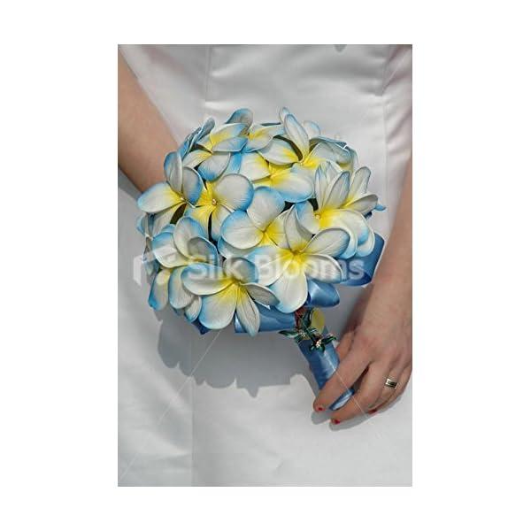 Artificial Aqua White Frangipani Plumeria Bridal Wedding Bouquet