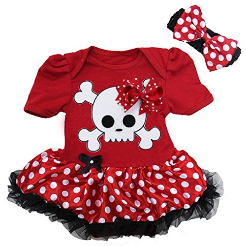 Baby Polka Dots Skull Pirate Costume Bodysuit Tutu X-Large Red]()
