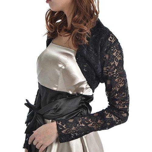 フォーマル ボレロ 長袖 レース 結婚式 パーティー ドレス 羽織 エレガント マントール ブラック 黒