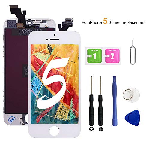 (VANYUST for iPhone 5 Screen Replacement, LCD Display Touch Screen Digitizer Assembly with Tool Kits Compatible for iPhone 5 White)