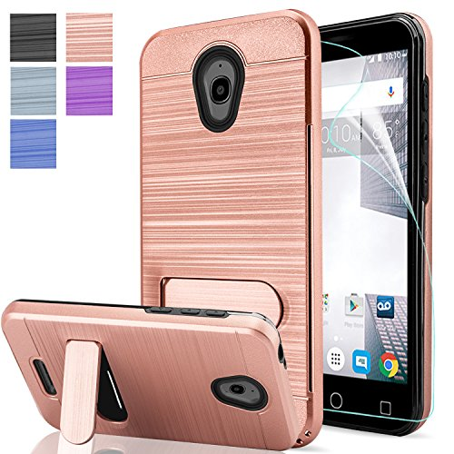 Alcatel 5044R Case,Alcate Cameox Case,Alcate Ideal Exite/Verso Case with HD Screen Protector,AnoKe[Card Slots Wallet Holder]Kickstand Hybrid Shockproof Heavy Duty Cases for Alcatel 5044R KC1 Rose Gold