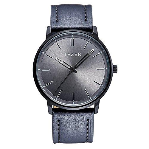 Grey Leather Watch - TEZER 30m Waterproof Leather Band Date Calendar Wrist Watch Casual Business Dress Watch 5025 (grey)