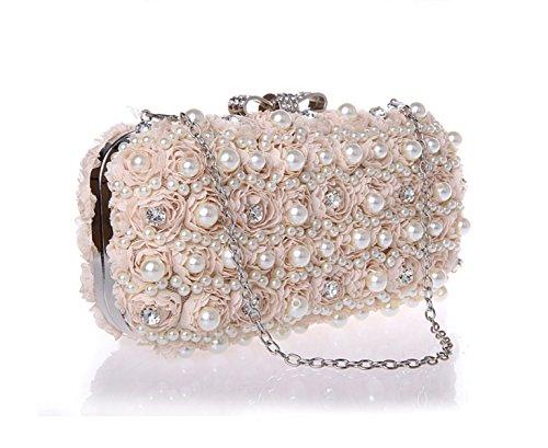 Banquet Portable Flowers Messenger Romantic Bag Rhinestone Womens Pack white Bags Evening Champagne Clutch Gshga Fashion q0Zz0